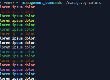 django command available style colors